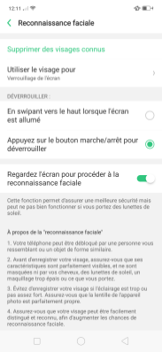 Oppo Find X Color OS UI Parametres Face ID