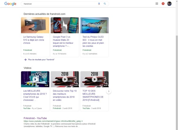 Google Search Material Design résultats 2