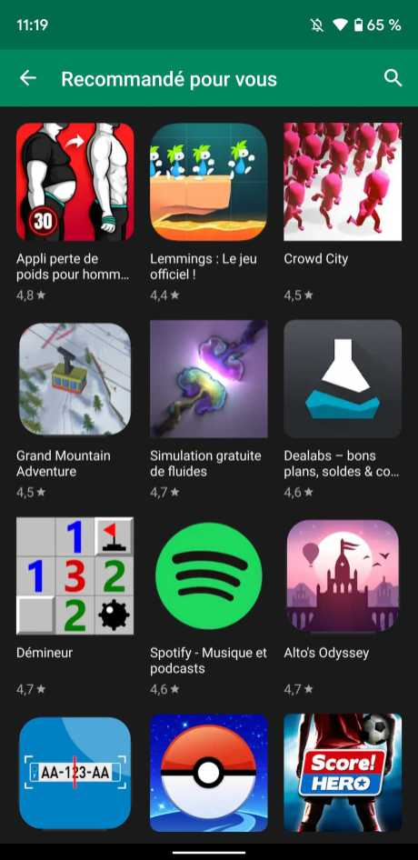 Play Store thème sombre 2