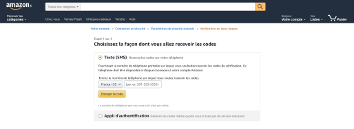 Amazon double authentification 2
