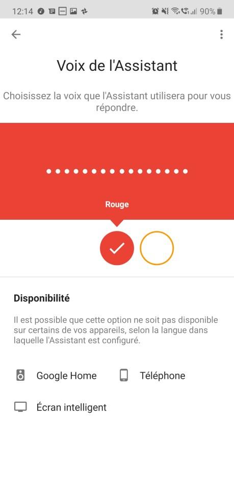 Google Assistant voix rouge