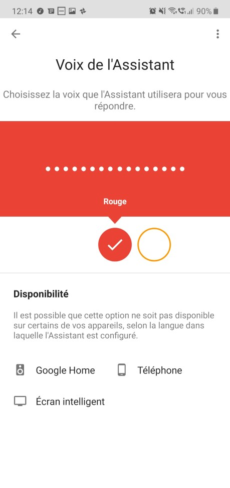Google Assistant voix rouge