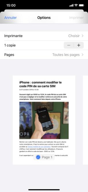 imprimer iphone 3