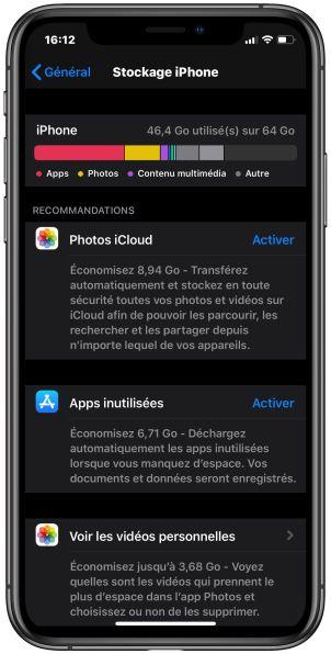 iPhone X stockage le 31 juillet