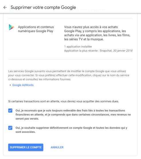supprimer compte google 5
