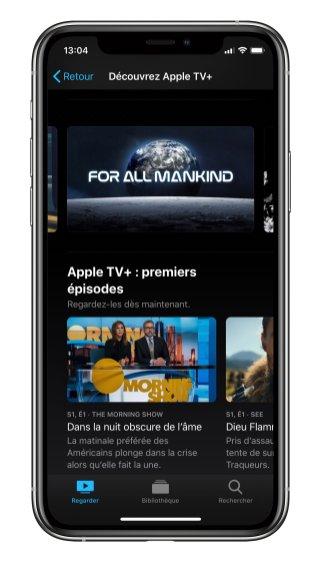 Apple TV interface horizontale