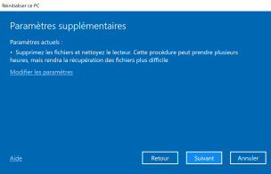 Réinitialiser windows 10 7