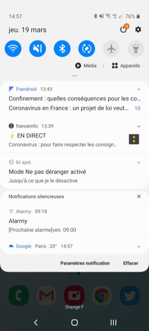 Les notifications sur le Samsung Galaxy Note 10 Lite