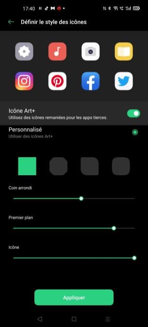 La personnalisation d'icônes sur l'Oppo Find X2 Pro
