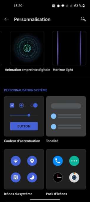 Interface du OnePlus 8