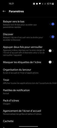 Interface du OnePlus 8