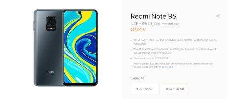 Prix pour le modèle supérieur du Xiaomi Redmi Note 9S en France