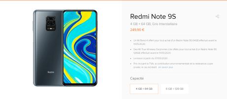Prix d'entée pour le Xiaomi Redmi Note 9S en France