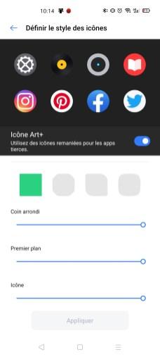Le réglage de la forme des icônes sur Realme UI