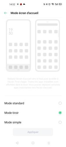 Le type d'écran d'accueil de l'Oppo Find X2 Neo
