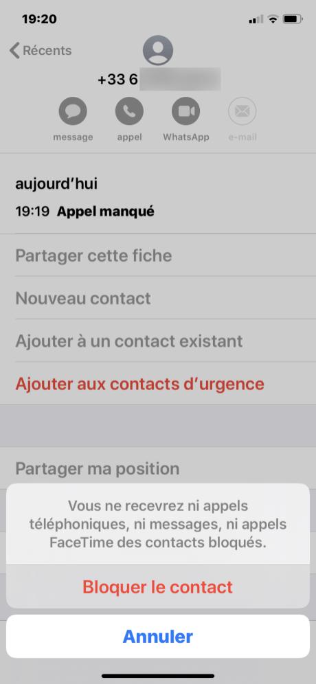 Bloquer numero iphone 3