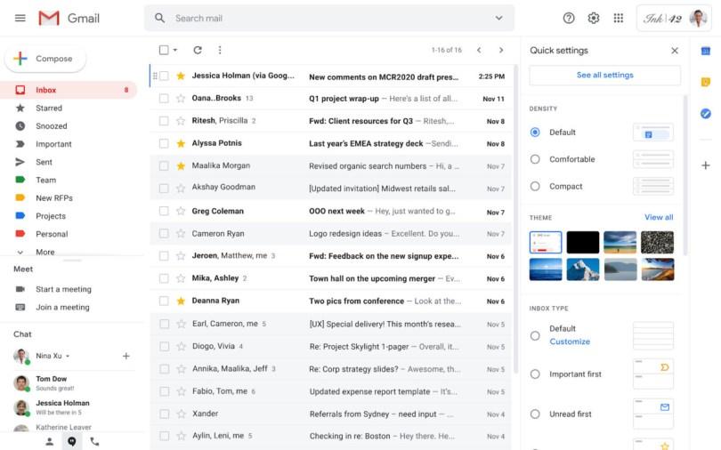 Les paramètres rapides de Gmail