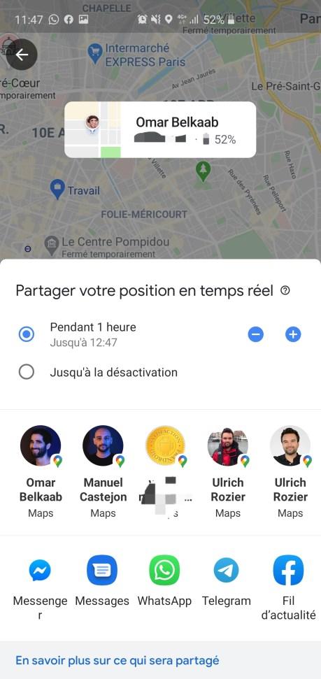Durée du partage de position sur Google Maps