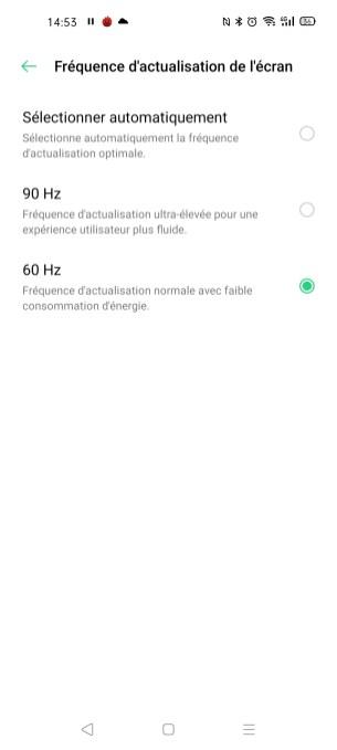 Le réglage du taux de rafraîchissement sur l'Oppo Find X2 Neo