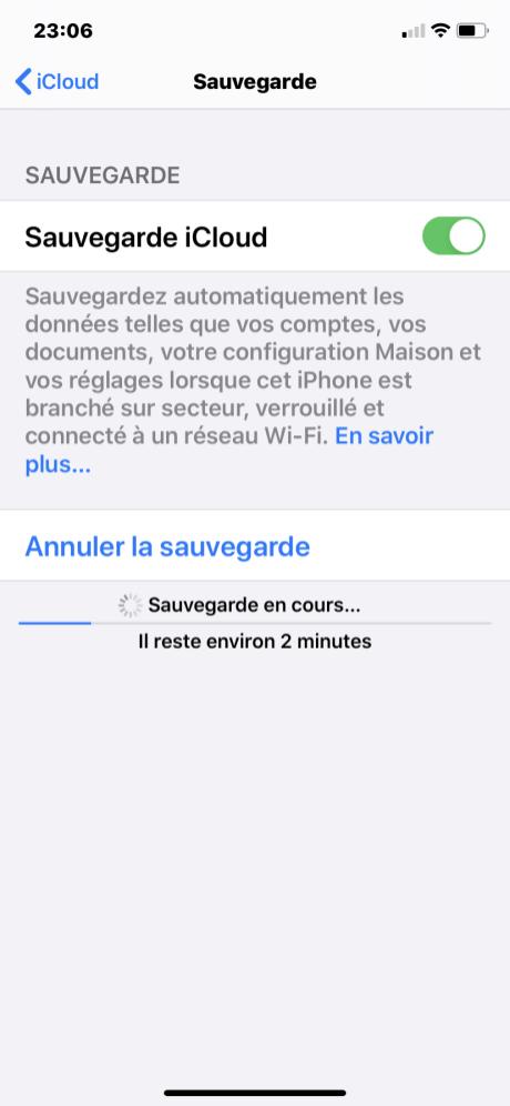 Sauvegarde iphone 6