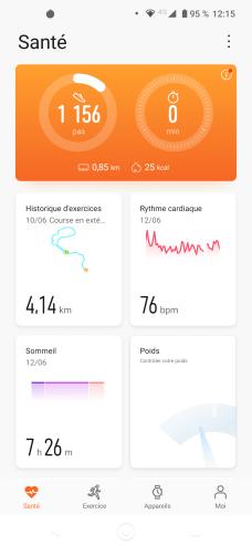 L'onglet Santé du l'application Huawei Santé