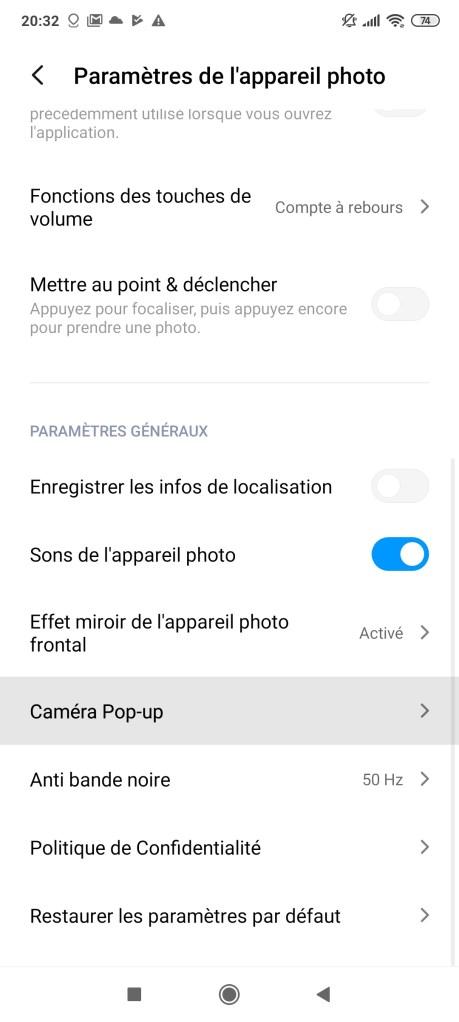 Option Caméra Pop-up Xiaomi Poco F2 Pro