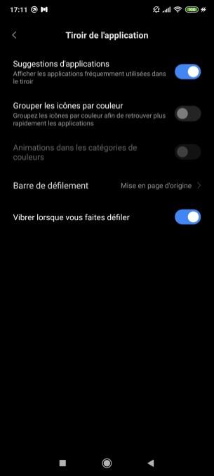 Options tiroir d'applications Xiaomi Poco F2 Pro