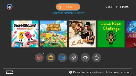 Nintendo Switch contrôle parental menu