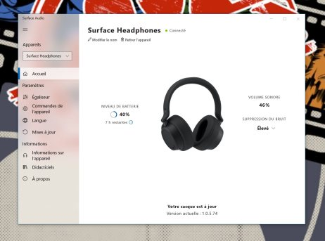 L'application Surface Audio sur Windows 10 // Source : Frandroid