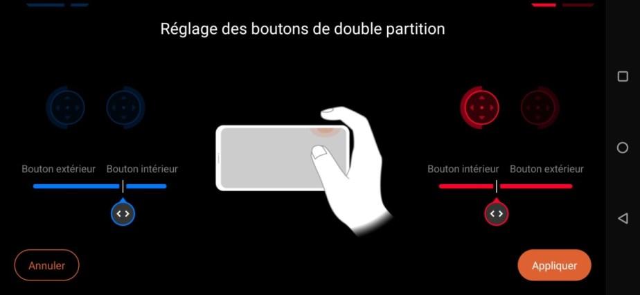 Les réglages des AirTriggers sur le ROG Phone 3 // Source : Frandroid