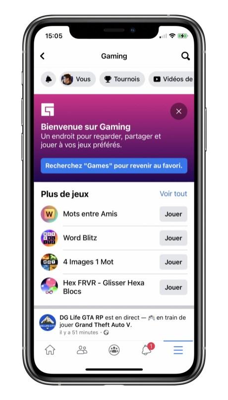 Les jeux dans l'application Facebook // Source : Frandroid