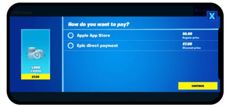 Paiement Fortnite sur iOS