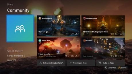 Les pages Communauté réorganisées sur Xbox // Source : Microsoft