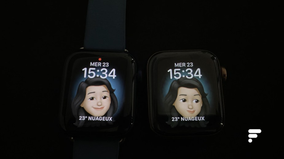 De gauche à droite : l'Apple Watch Series 6 et l'Apple Watch Series 5 // Source : Frandroid