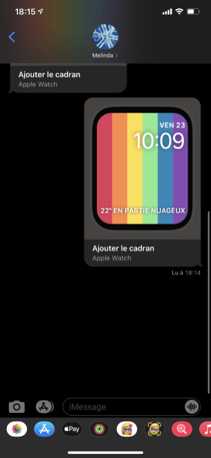 Apple Watch watchOS 7 cadran SMS Message