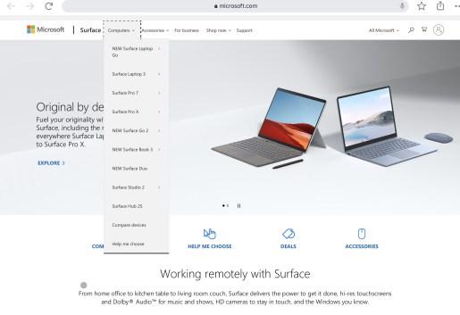 Plus de trace de Surface Neo sur le site de Microsoft en octobre 2020