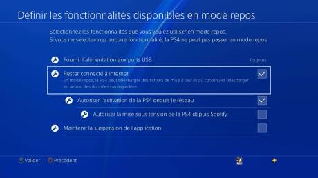 Playstation 4 PS4 stockage données fonctions mode repos
