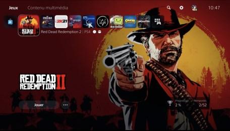 PS5 interface jeux liste