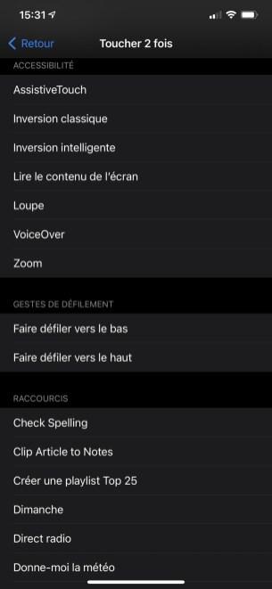 Menu iOS 14 toucher le dos accessibilité raccourcis