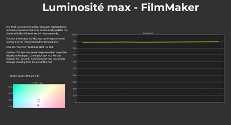 La luminosité maximale mesurée sous le mode FilmMaker - Mire à 10%