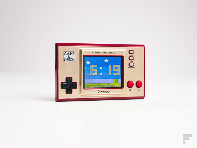 The Game and Watch Super Mario Bros shows the time