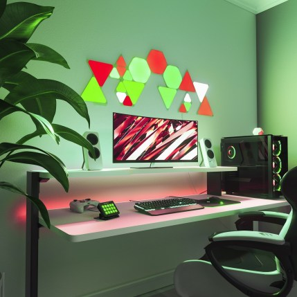 The LED panels can be arranged however you want and animate according to your game // Source: Nanoleaf