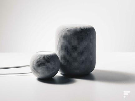 Les deux HomePod d'Apple en version mini et maxi // Source : Frandroid / Arnaud GELINEAU