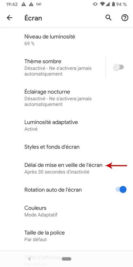 Comment régler le délai de mise en veille sur Android 04