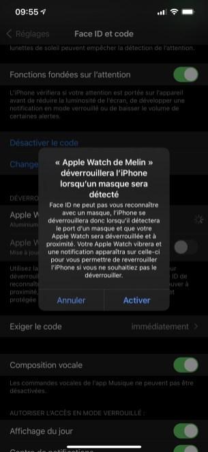 Activez le déverrouillage par l'Apple Watch