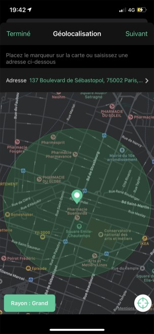 Capture appli Arlo Mode Géolocalisation rayon Grand // Source : Frandroid / Yazid Amer