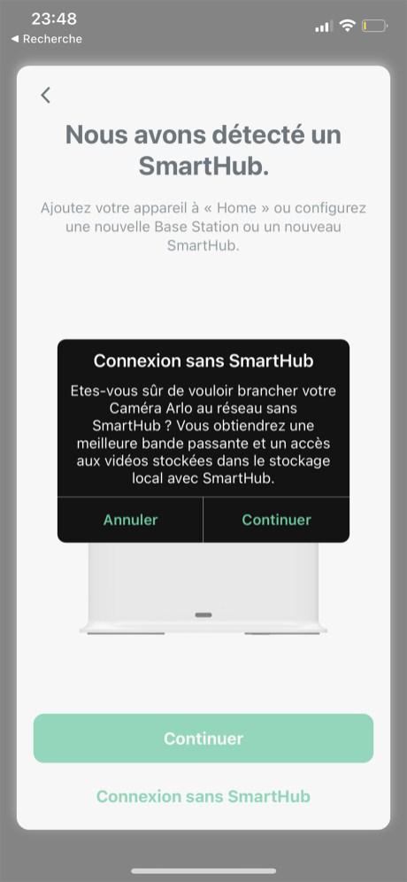 La détection du Smart Hub dans l'App Arlo // Source : Frandroid / Yazid Amer