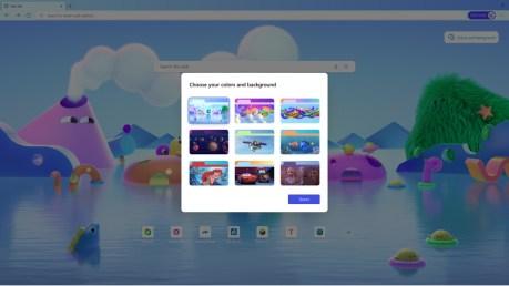 Microsoft Edge Kids possède de nombreux thèmes pour les enfants.