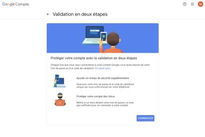 Pour valider votre compte en deux étapes, il suffit de définir un second mode de réception du code // Source : Google