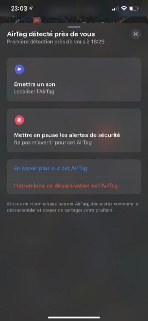 Si vous détectez un AirTag ne vous appartenant pas, vous pouvez le signaler // Source : FRANDROID